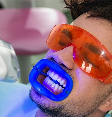 Patient receiving in-office teeth whitening treatment