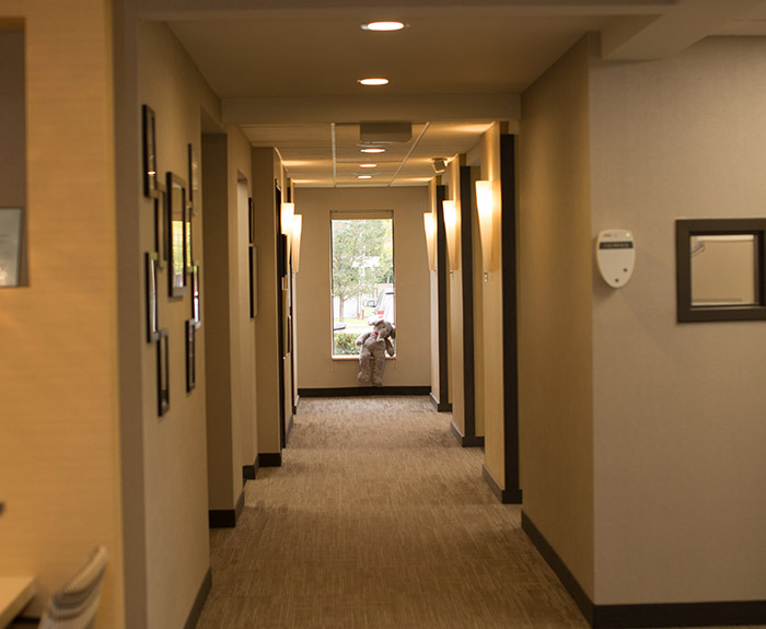 Office leading to dental exam areas
